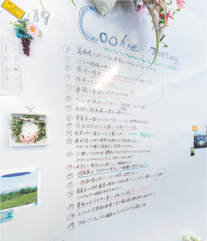 院長室の壁には、職員からの率直な意見が書きこまれる